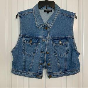 Karen Kane Denim Crop Button Up Jean Vest